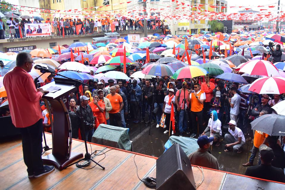 3 Nov 2019: Mauritius's Prime Minister Pravind Jugnauth (L) speaks to supporters during a rally ahead of the controversial vote 7 Nov 2020. PM Pravind Jugnauth was handed the top job when his father stepped down in 2017.