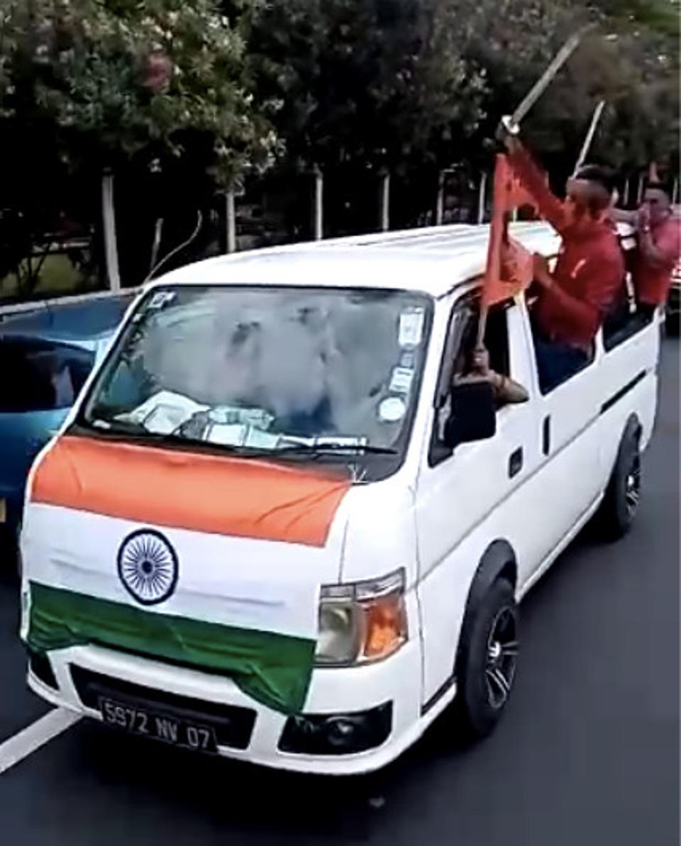 2 Nov 2020: Indian workers waving machetes and the Indian flag patrol the streets of Mauritius in a rally designed to provoke racial tensions in the usually peaceful island of Mauritius