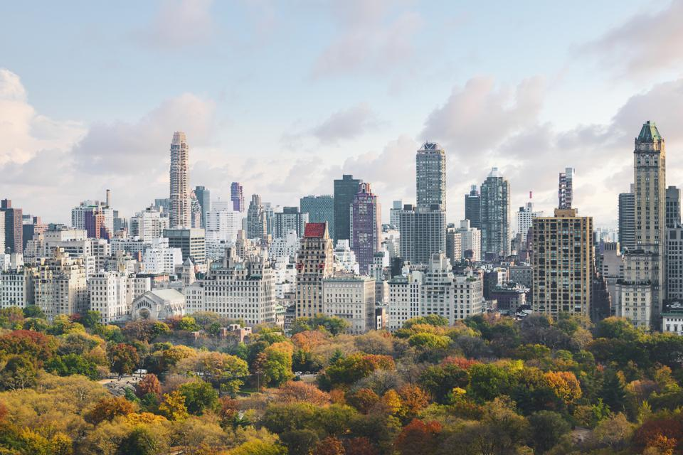 High angle view of Upper West Side Manhattan skyline and Central Park, New York City