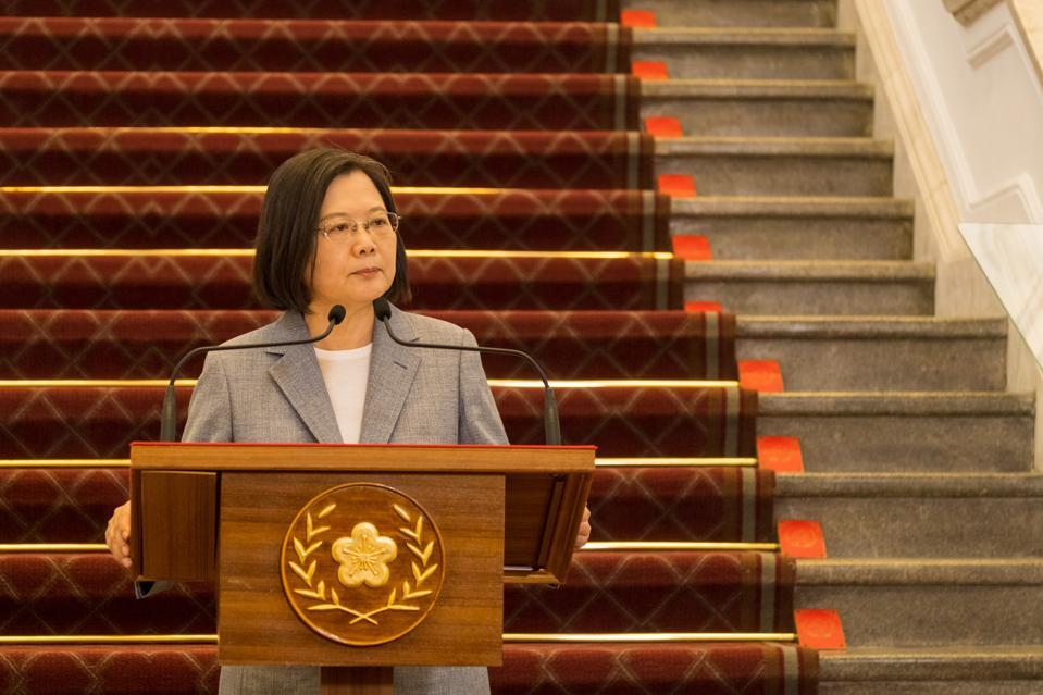 President Tsai Ing-wen speaks during a press conference at...