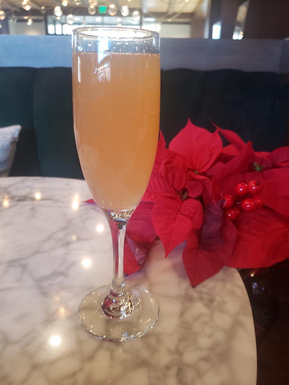 Festive champagne cocktail.