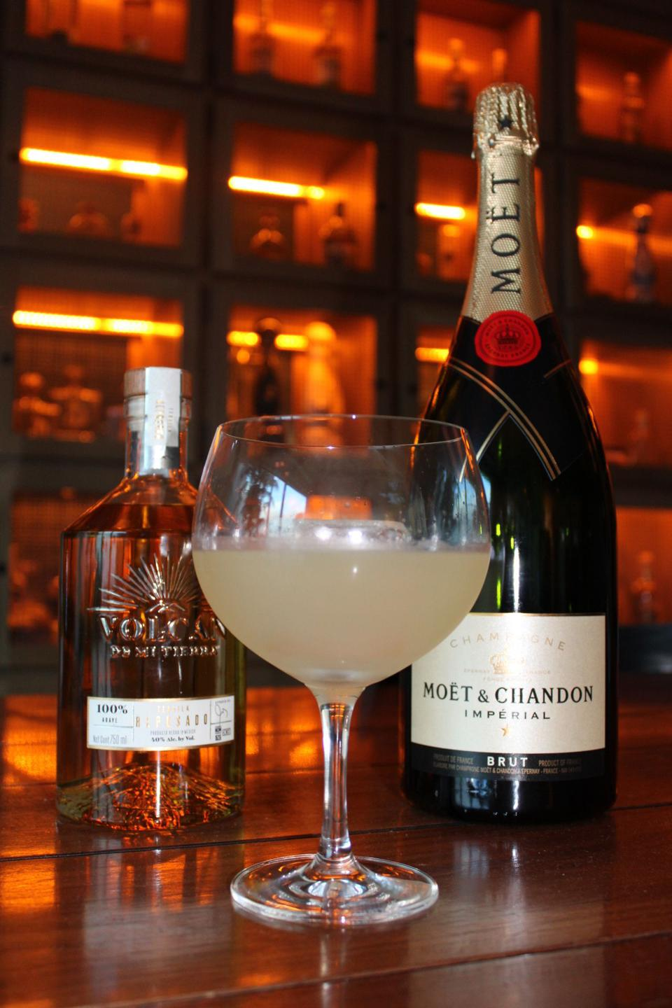 Champagne cocktail at bar