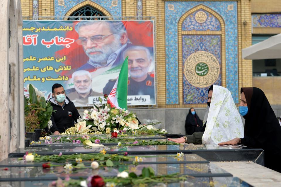 Iranian Nuclear Scientist Mohsen Fakhrizadeh Mahabadi's grave in Tehran
