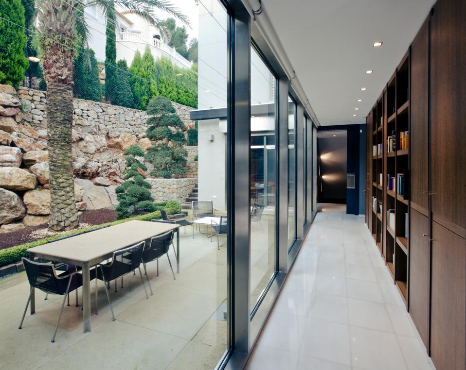A library corridor.