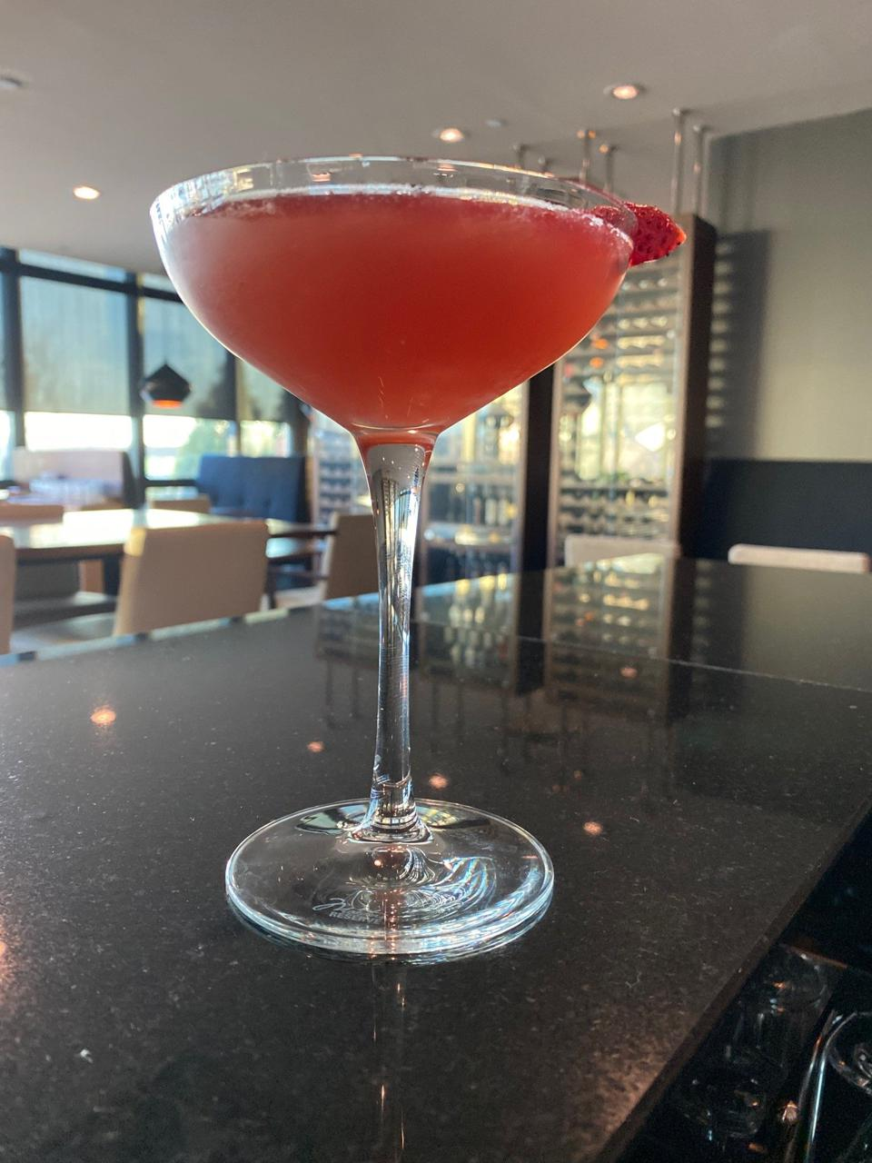 Strawberry champagne cocktail.