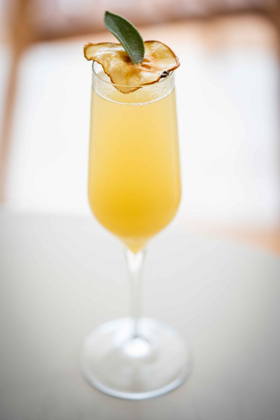 Pear champagne cocktail.