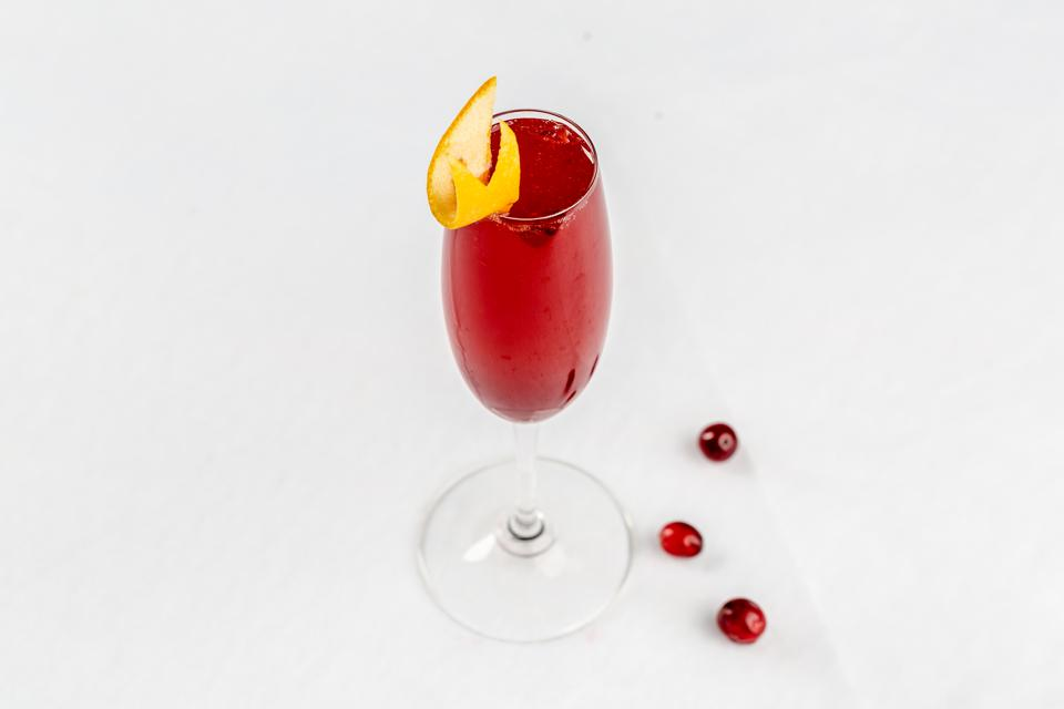 Champagne and cranberry cocktail.