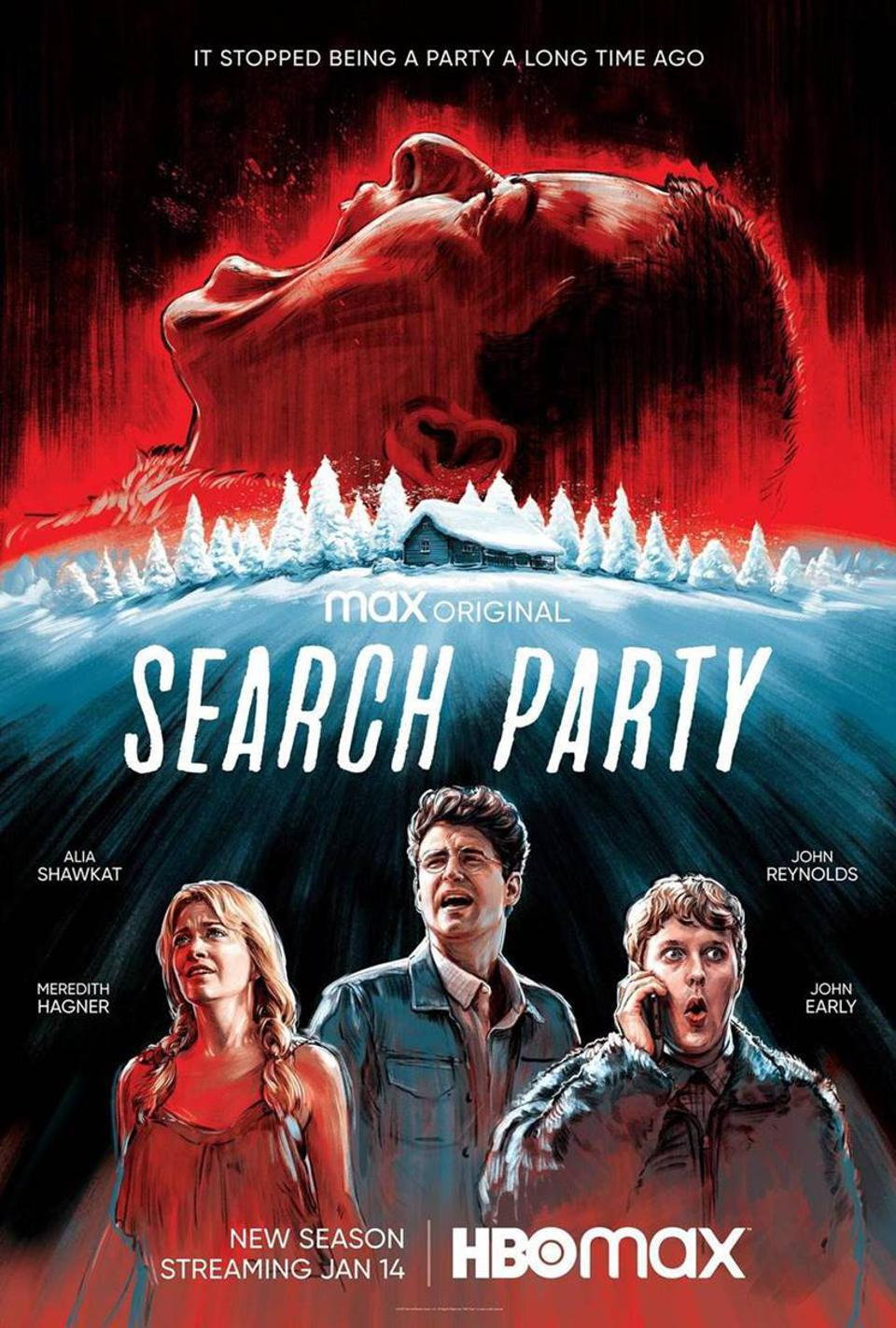 A poster for ″Search Party″ which shows a woman's face screaming above a winter cabin.