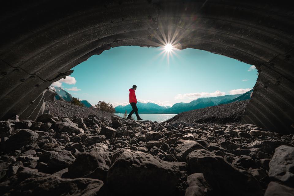 Men At Secret cave Canada Abraham lake