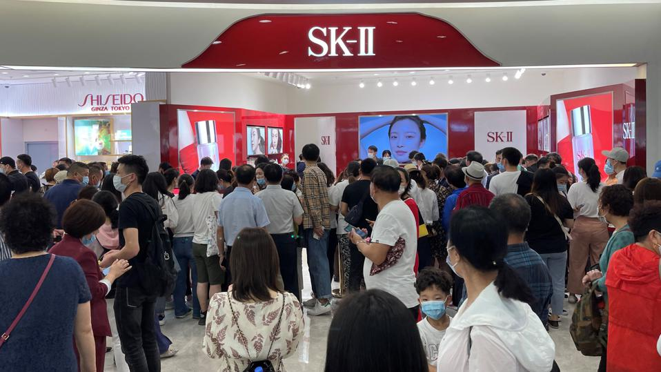 SK-II brand space filled with shoppers in Sanya, Hainan, China.