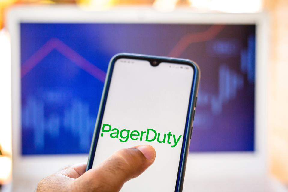 In this photo illustration the PagerDuty logo seen displayed...
