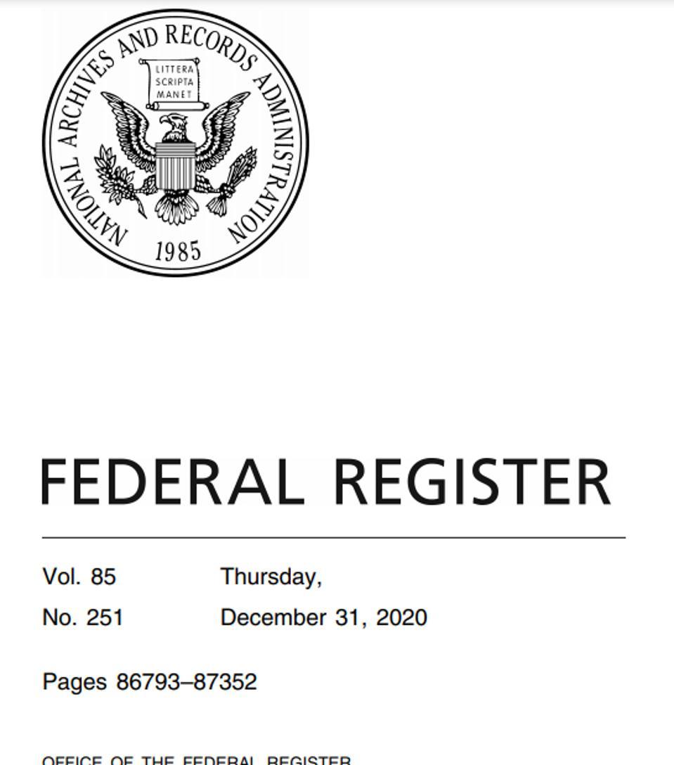 Federal Register cover, December 31, 2020