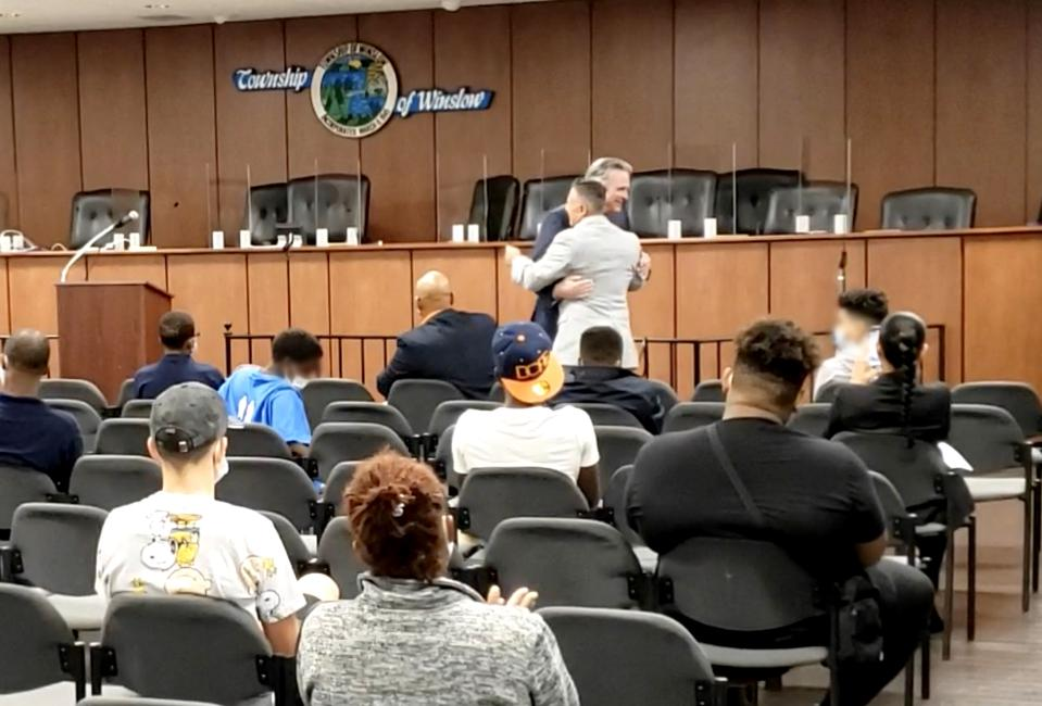 Gentile introducing Alite to a roomful of kids (many fatherless) in need of role models, in Camden, NJ — one of America's most violent cities. Event sponsor:  Men Empowering Nations, a faith-based local non-profit.  September, 2020