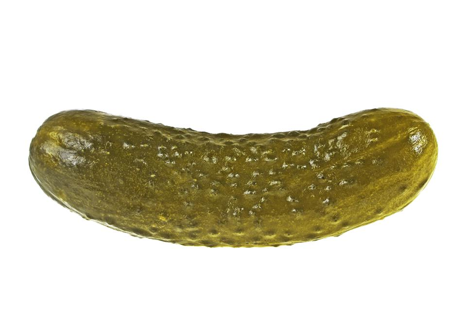 Salt cucumber isolated on a white background