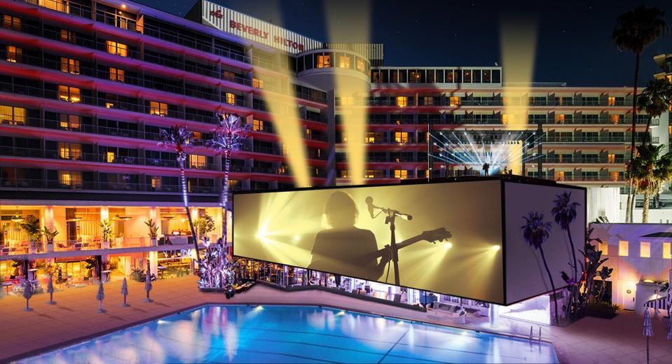 Mockup of Beverly Hilton Hotel immersive entertainment performance around pool
