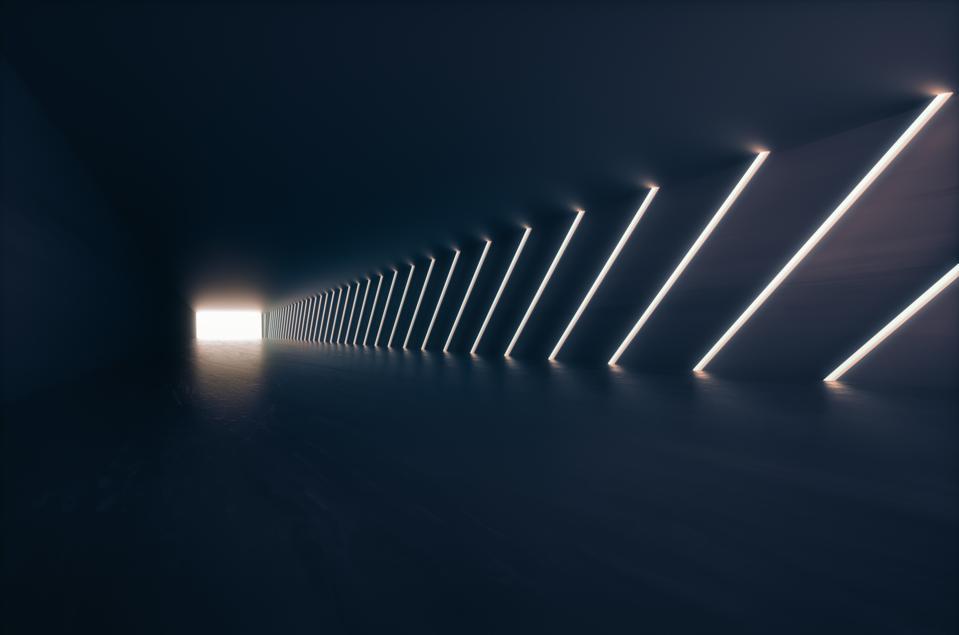 Empty futuristic corridor background