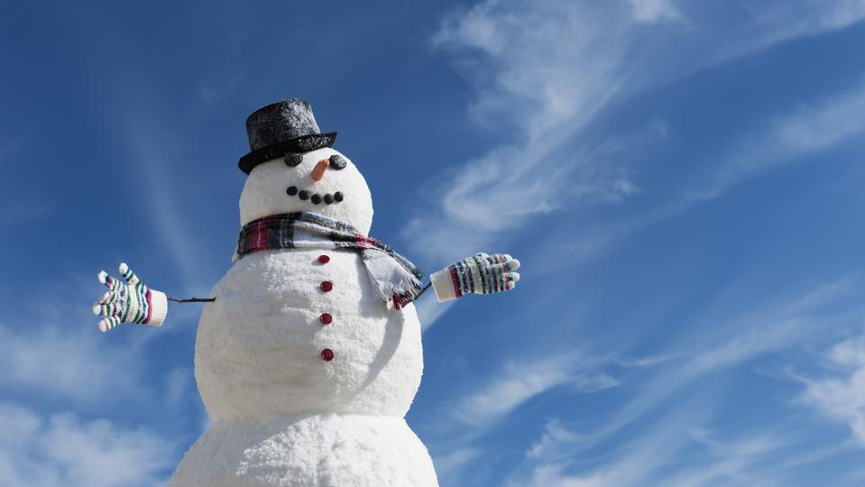 USA, New Jersey, Jersey City, Snowman under blue sky