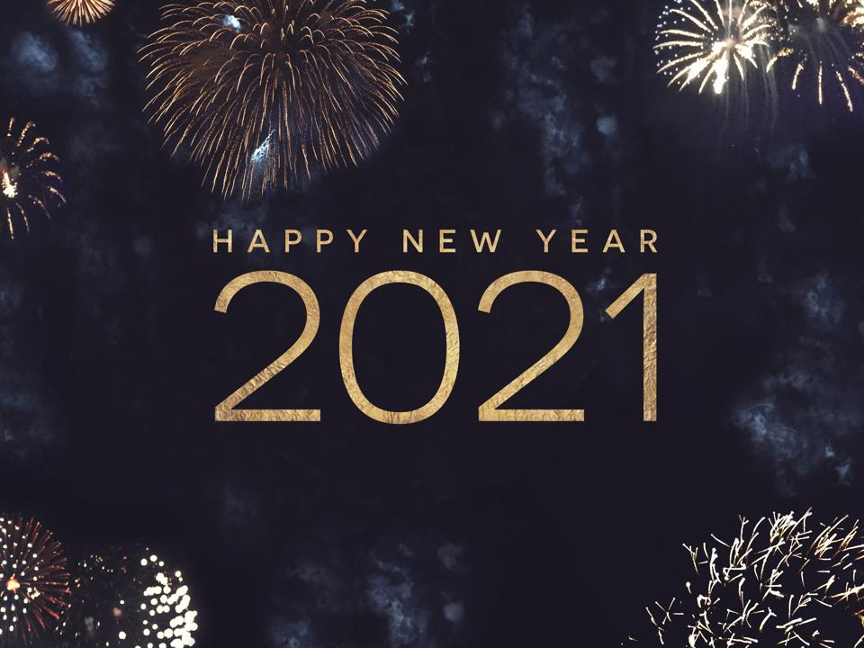 Happy New Year 2021 Text Holiday Graphic with Gold Fireworks Background in Night Sky