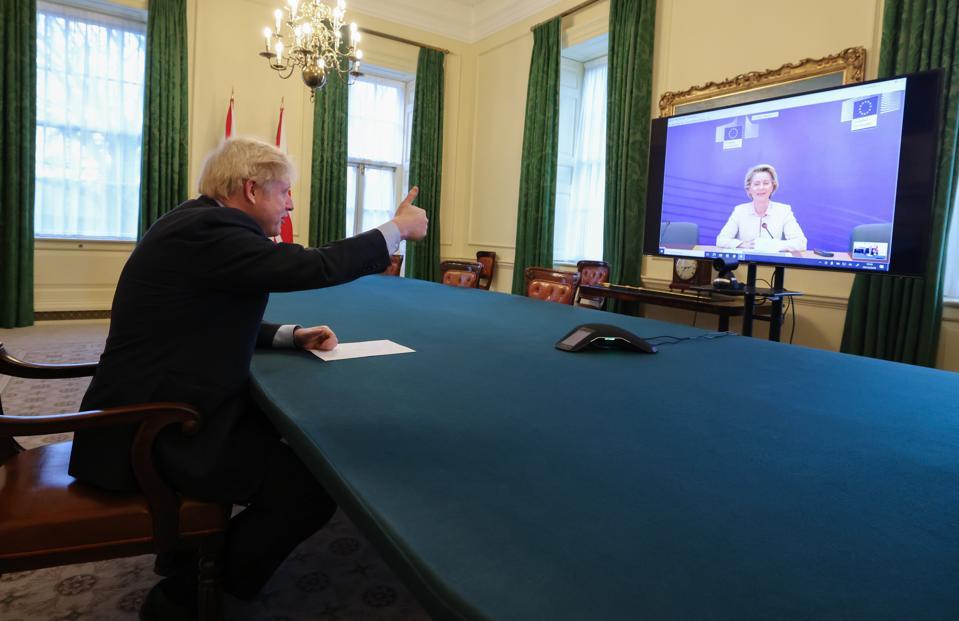 Boris Johnson speaks to Ursula von der Leyen via video link