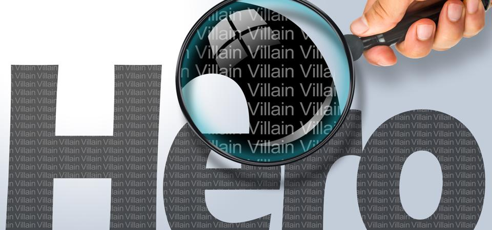 HERO - VILLAIN Opposite message, Hand holding magnifying glass