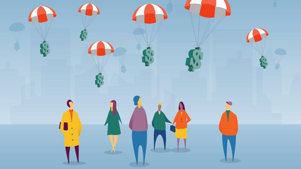 money in parachutes dropping onto people