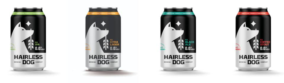 Cans of Hairless Dog nonalcoholic beer