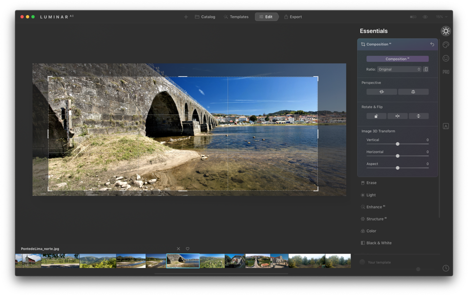 Photo of bridge being cropped in Luminar AI