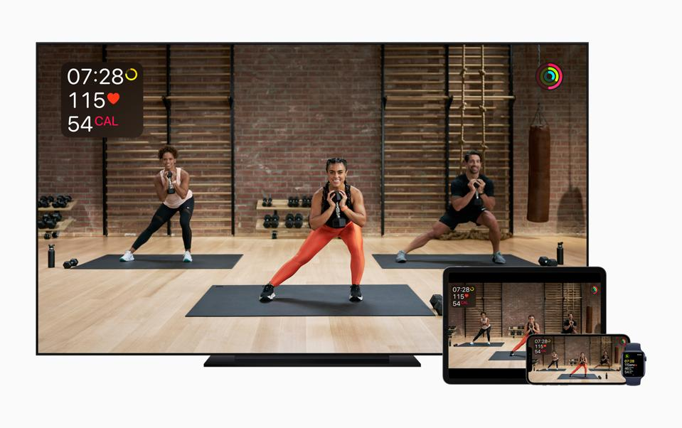 Watch the Apple Fitness+ workout on your Apple TV, iPhone or iPad.