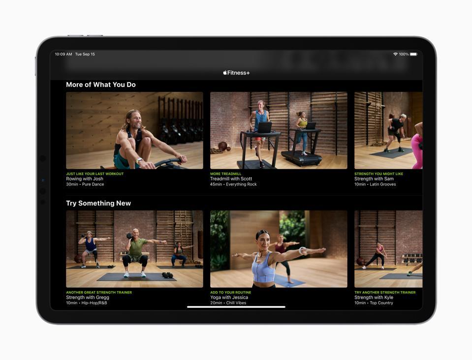 Puede explorar fácilmente los entrenamientos de Apple Fitness + en su iPad.