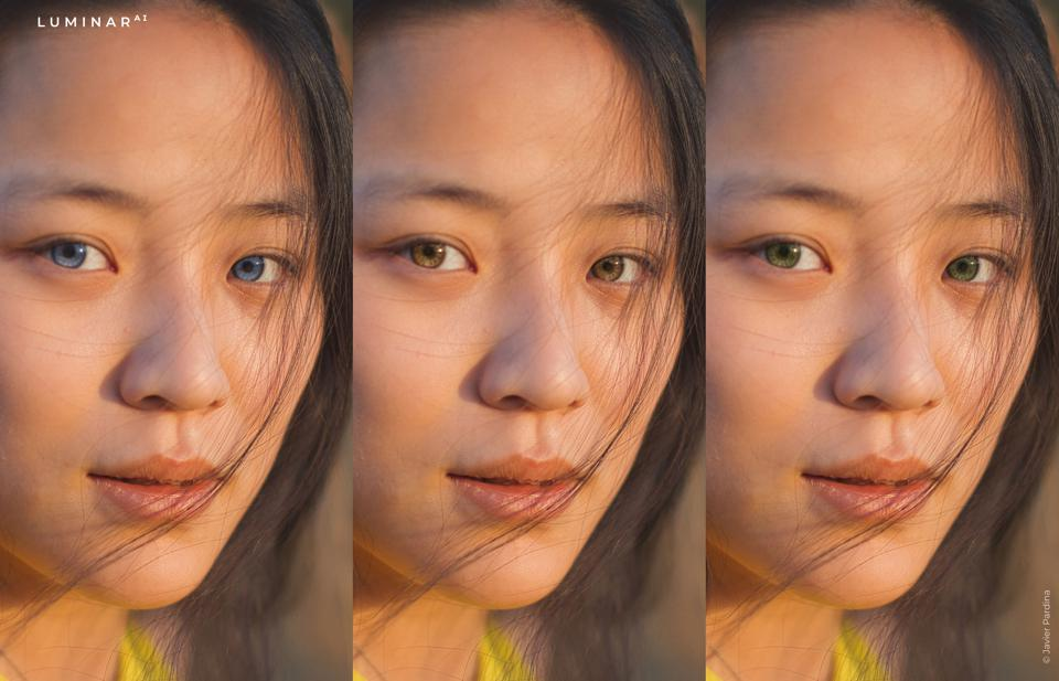 Three images of a woman with different colored irises