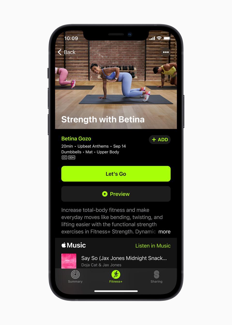 El entrenamiento de fuerza es parte del régimen Apple Fitness +.