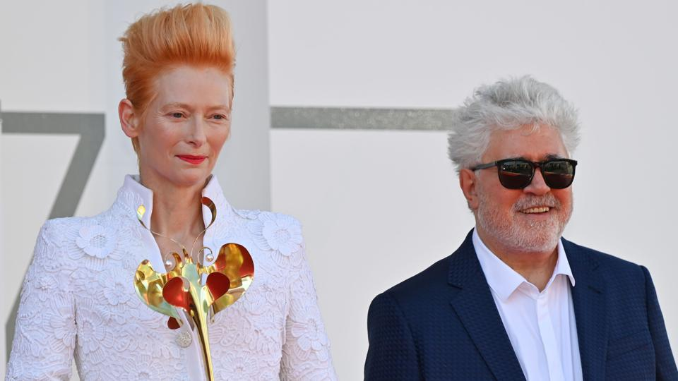 Tilda Swinton and Pedro Almodovar present ″The Human Voice″ at the Venice Film Festival.
