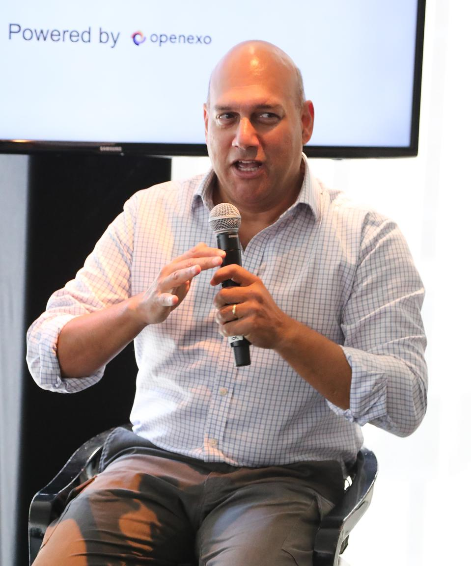 Silicon Valley veteran, Salim Ismail, speaks at a conference aimed at addressing SDG 'Moonshots' at the UN Headquarters