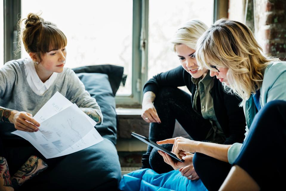 Businesswomen talking during an informal meeting