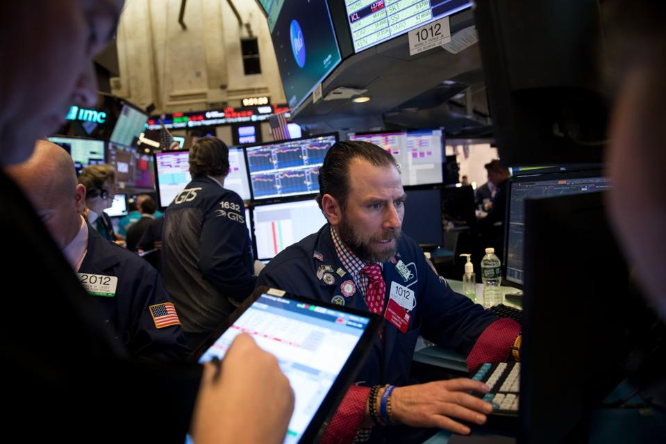Traders On The Floor Of The NYSE As Trump's Speech Spooks Investors
