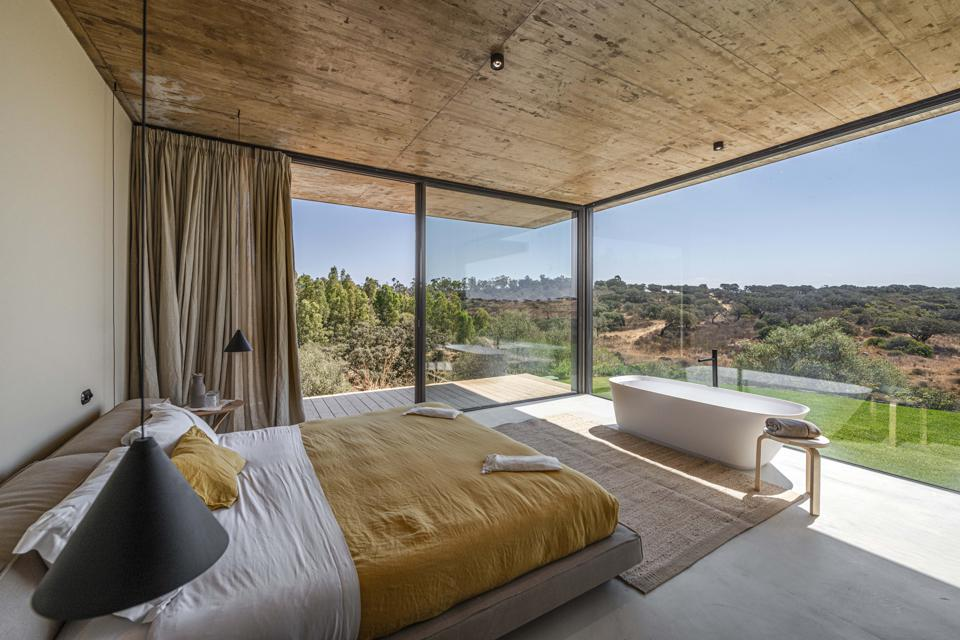 The suites at Herdade da Malhadinha Nova in Portugal are sleek and modern with great views