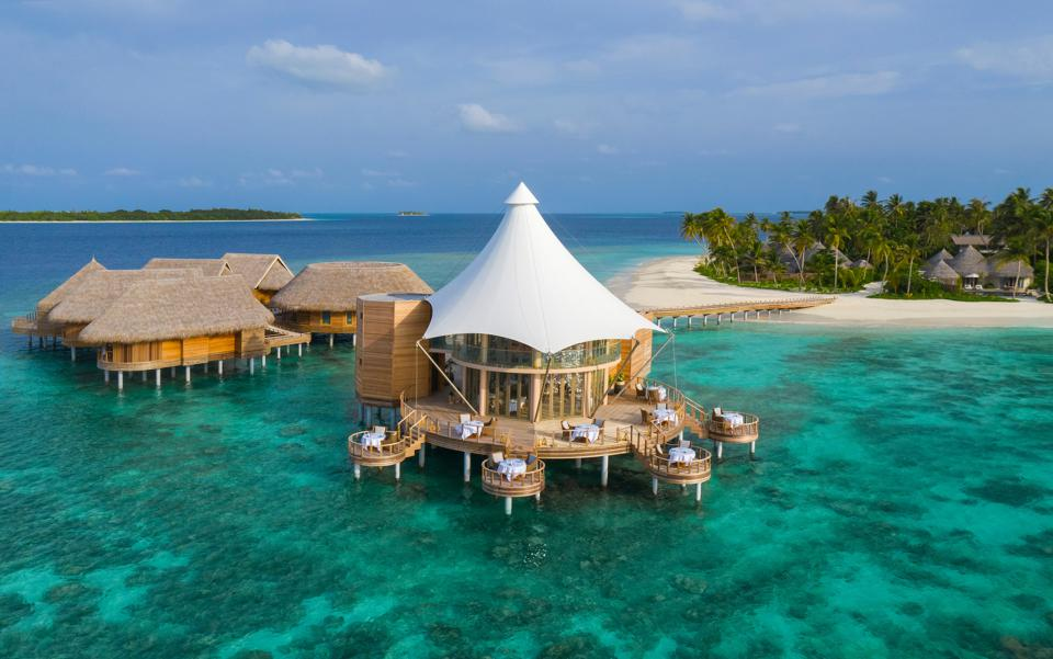The Nautilus is a private island resort in the Maldives surrounded by turquoise water