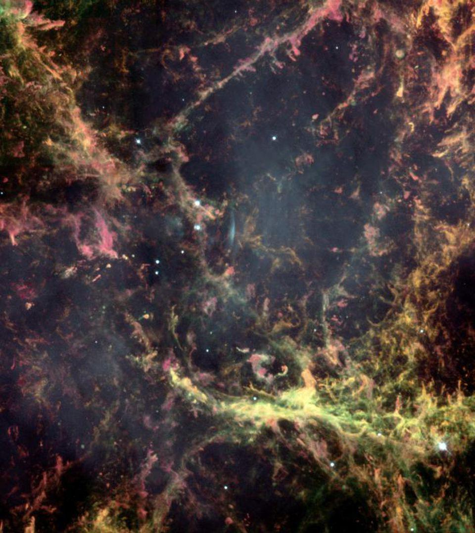 Hubble image of a small region of the Crab Nebula, showing Rayleigh–Taylor instabilities.