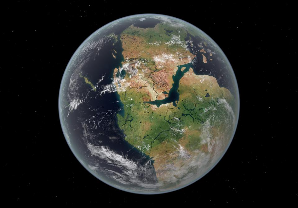 Illustration of what Earth may have looked like when it was covered in a single vast continent: Pangea.