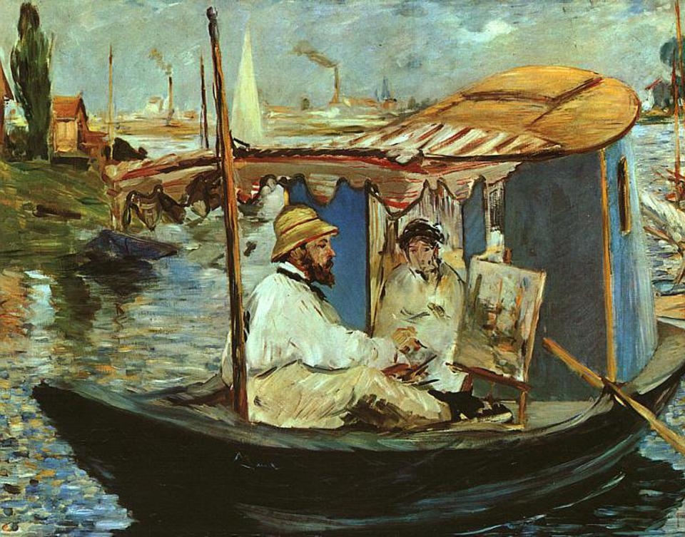 Edouard Manet painting Claude Monet painting on board a small boat. 1874