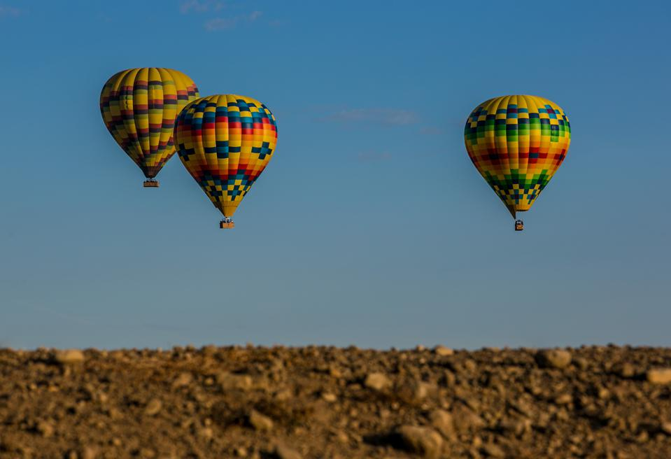 Exploring California's Napa Valley by hot air balloon.