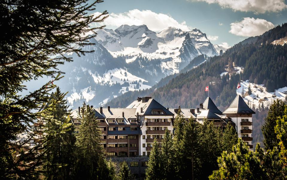 The exterior of Alpina Gstaad in the Swiss Alps.