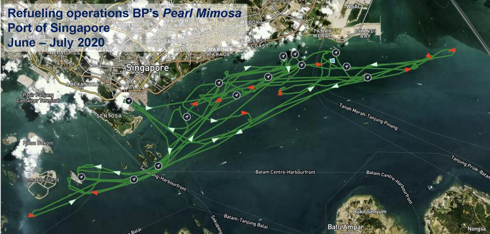 The Pearl Mimosa performed multiple refueling stops throughout June and July, and always stocked up from Sebarok Island