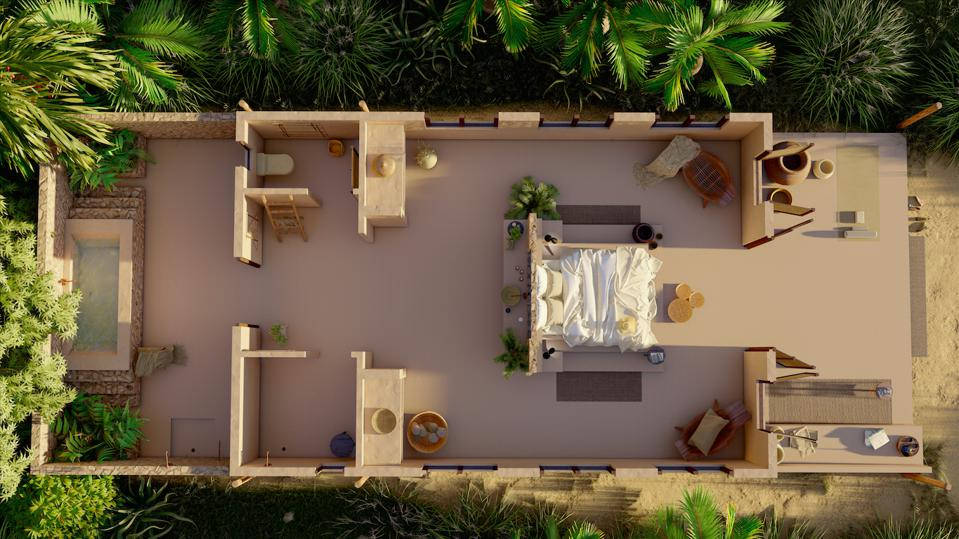 One of the design-led villas at Sussurro in Mozambique.