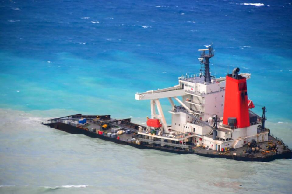 The stern of the Wakashio remains on Mauritius' coral reefs