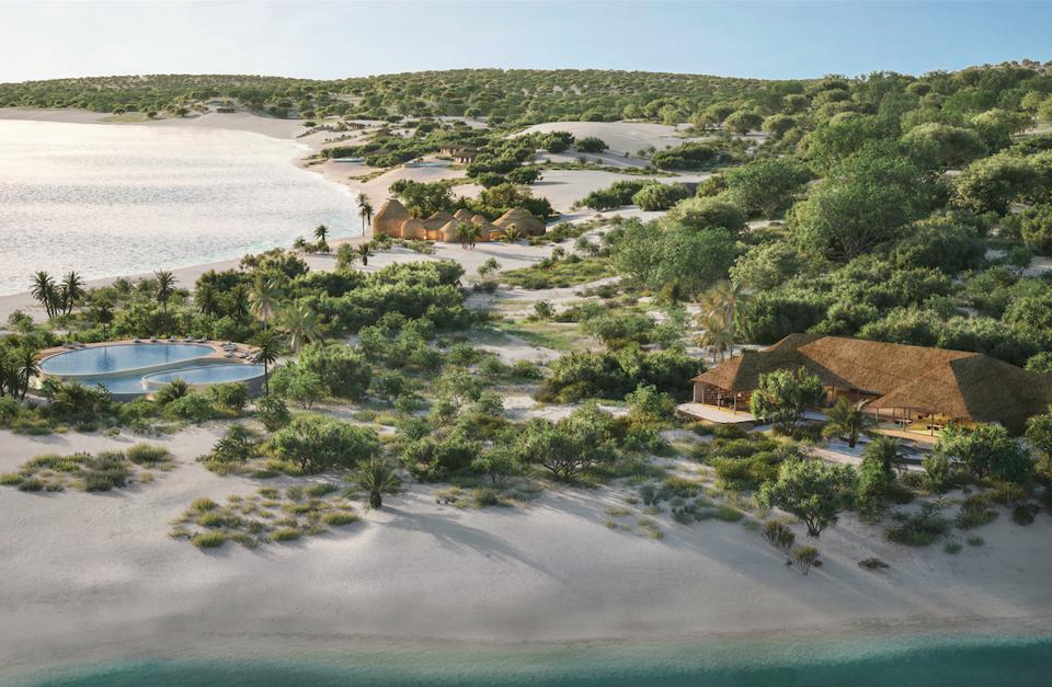 An aerial view over Kisawa Sanctuary on Mozambique's Benguerra Island.