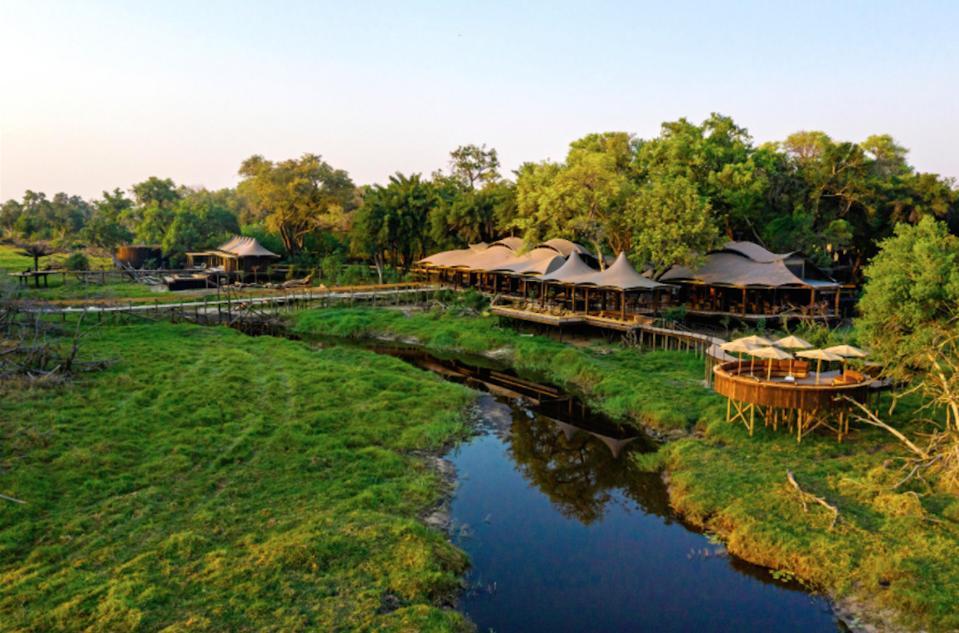 A view over Xigera Safari Lodge in Botswana.