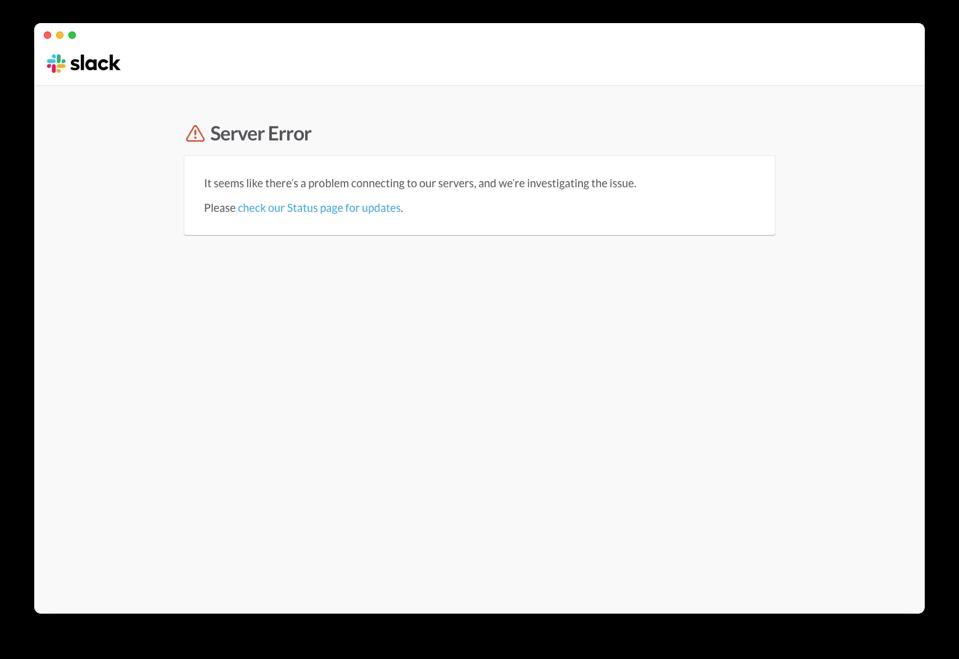 Slack error message