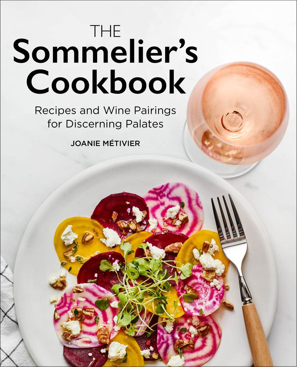 Image of beets and glass of rose with book title The Sommelier's Cookbook