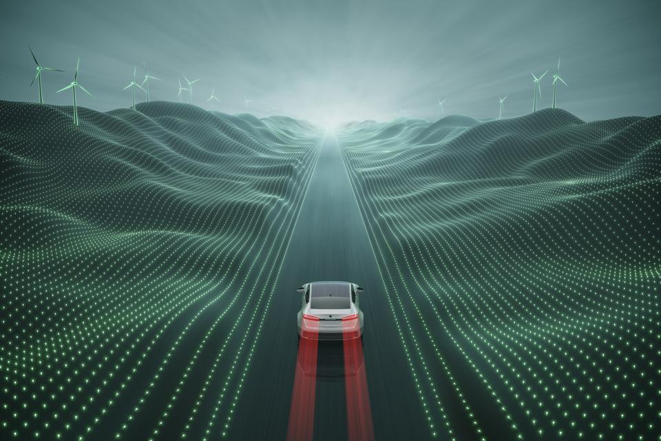 electric car digital landscape top view v01